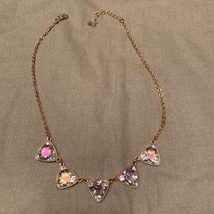 Iridescent triangle necklace